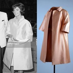 Jackie Kennedy wears an apricot colored coat designed by Oleg Cassini to the Women's National Press Club's annual dinner at the Statler Hotel in Washington, D.C. on June 19, 1961.