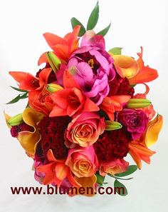 Wedding bouquets; Pittsburgh Weddings; BW-138 Bride's bouquet of cherry brandy roses, orange mini calla lilies, magenta cockscomb, orange Asiatic lilies and silk pink peonies; Blumengarten Florist; www.blumen.com