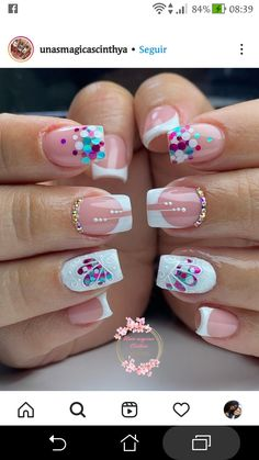 French Manicure Nail Designs, Nail Manicure, Cute Nails, Nail Colors, Beauty Makeup, Projects To Try, Nail Art, Instagram, Short Square Nails