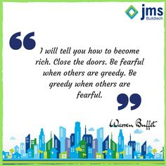 """To quote Warren Buffet, """"I will tell you how to become rich. Close the doors. Be fearful when others are greedy. Be greedy when others are fearful."""" Now's the time to buy. In real estate and in life, it's almost always best to act opposite to the herd. #InvestinRealEstate #Quote"""