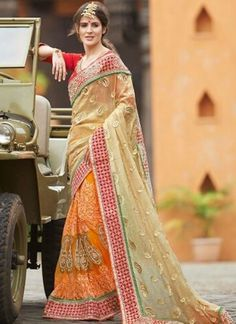 Orange And Cream Designer Half N Half Wedding Saree http://www.angelnx.com/Sarees