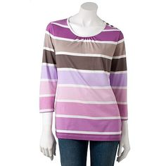 Croft and Barrow Striped Top: love this in all 3 combos and pairs great w/ the quilted vest