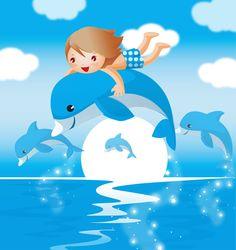 夏の画像サンプル-イルカに乗った少年