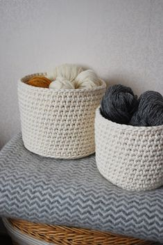 crochet baskets , I love the big chunky yarn so you can see all of the stitches