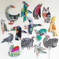 Illustration by Clare Youngs ************* - Top Paper Crafts Arte Elemental, Paper Birds, Paper Artist, Art Club, Art Activities, Art Plastique, Teaching Art, Elementary Art, Bird Art