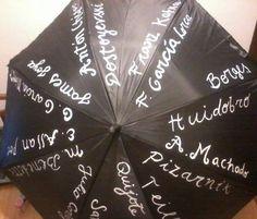 Paraguas pintado a mano por marca Peces.