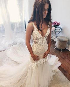 Ivory Mermaid Wedding Dress with Illusion Bodice,Cheap wedding