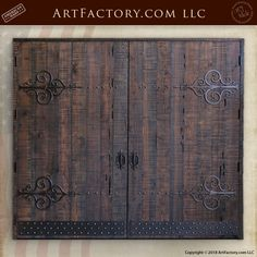 Custom Gothic Carriage Doors: Built To Historically Correct Specifications - handmade from genuine, solid wood, with customizable hand forged hardware Custom Garage Doors, Custom Wood Doors, Wood Garage Doors, Custom Garages, Barn Doors, Castle Doors, Carriage Doors, Wrought Iron Doors, Knobs And Knockers
