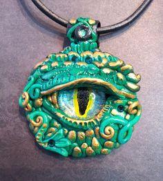 Jade Green Dragon Eye Pendant by AstridMakosla.deviantart.com on @DeviantArt