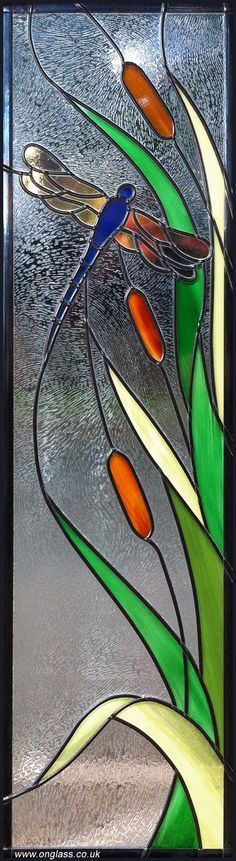 Stained-Glass: Dragon Fly #stained-glass panel; design by www.onglass.co.uk.