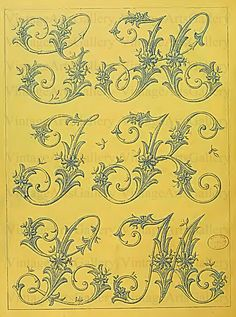 Antique FRENCH ALPHABET LETTERS Monogram Initials Embroidery Sewing Pattern Stencil