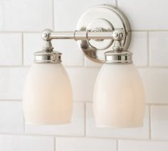 Bathroom Lights Restoration Hardware powder room light - lugarno double sconce - restoration hardware