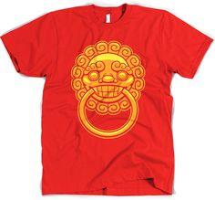 Lion Door Knocker T-Shirt #tee #chinese #asian #china #asia #design #illustration