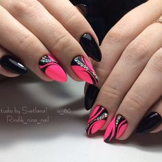 Sweet and different nail art idea for almond or stiletto nails . - Sweet and different nail art idea for almond or stiletto nails …… – Nail ideas – - Stiletto Shaped Nails, Stiletto Nail Art, Coffin Nails, New Nail Art, Cool Nail Art, Diy Nails, Swag Nails, Nail Nail, Super Nails