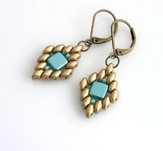 "Earrings- ""Kleopatra2"" Tilas, Seed Beads and Super Duos from kacenkag on sashe.sk"