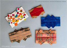 Envelopes-laço em origami, vários tipos de papel