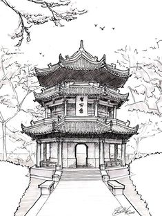 Pagoda Drawing | Chinese Pagoda by ~asuka47 on deviantART