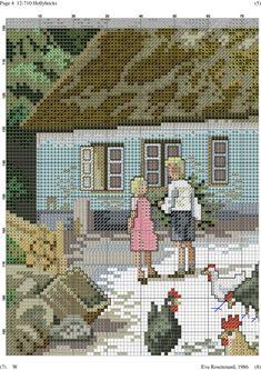 Hollyhocks 5 of 12 Counted Cross Stitch Patterns, Cross Stitch Designs, Cross Stitch Embroidery, Cross Stitch House, Cross Stitch Landscape, Ribbon Work, Filet Crochet, Pixel Art, Painting
