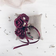 Ring bearer pillow Wedding ring pillow Burgundy Ring bearer