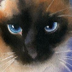 "Rachel's Studio Blog: New Applehead Siamese Cat Art - ""Applehead in Repose"" Watercolor Painting"