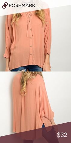 Dusty Peach Top 100% Rayon. This woven top features long bat wing sleeves, button up closure and self tie drawstring.fast shipping. No trades. Thank you for supporting and shopping my closet! XO XO Tops
