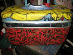 Vintage Royal Traveller Makeup Box hand painted by TackyMonkey, $45.00
