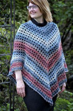 Midnight Madness Poncho Free Crochet Pattern Lion Brand Shawl in a Ball - Nana's Crafty Home Crochet Woman, Knit Crochet, Crochet Vests, Crochet Cape, Crochet Shirt, Crochet Sweaters, Crochet Jacket, Knitted Shawls, Easy Crochet