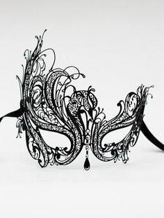 Luxury Black Metal Filigree Masquerade Ball Mask with Diamante Crystals by DaisyCombridge