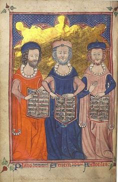 Plato, Seneca, and Aristotle in an illustration from a medieval manuscript Devotional and Philosophical Writings London: c.1325-1335 MS Hunter 231 (U.3.4)