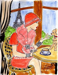Fifi Flowers: Pup on Parisian Table