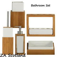 Bathroom-Set-Wooden-Bamboo-White-Ceramic-Bathroom-Sink-Accessories-Set. £17 for toilet brush holder (H39 x W10 x D10cm). £9 for soap dispenser