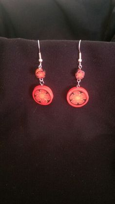 Polymer clay earrings. Polymer clay cane. Flower.