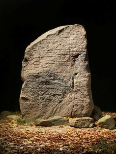 The Glavendrup stone. Fyn Denmark.  The Stone were raised by a rich woman Ragnhild to commemorated here dead husband.  Along with her sons, she erected the rune stone at Glavendrup on Fyn. Ragnhild placed this stone in memory of Alle Sølve...  Alle's sons made this monument in memory of their father, and the wife in memory of her husband. And Sóti carved these runes in memory of his lord…