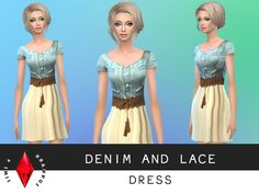 The Sims Resource: Denim and Lace Dress • Sims 4 Downloads