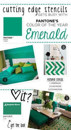 How to use Emerald with stencils for a great painting idea! #CuttingEdgeStencils #stencilpatterns #stenciling #stencils