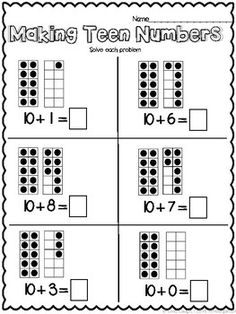 Math Addition Worksheets, First Grade Math Worksheets, Kindergarten Math Worksheets, 1st Grade Math, Preschool Math, Math Resources, Teaching Math, Math Activities, Teaching Geography