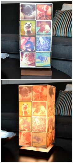 Personalize a simple lamp using your favorite Instagrams, iron ons and Mod Podge!