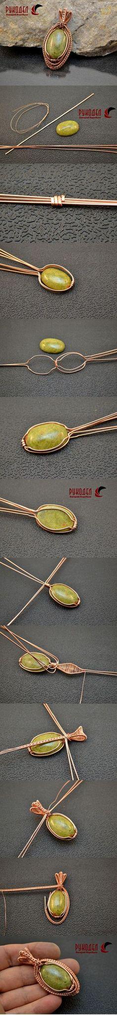 Colgante de alambre y cabujón trenzado. | - Crafts en Anatolyevich