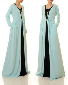 Cardigan Kimono, Long Duster Cardigan, Blue Kimono, Blue Cardigan, Modest Dresses, Stylish Dresses, Cardigans For Women, Coats For Women, Winter Dress Outfits
