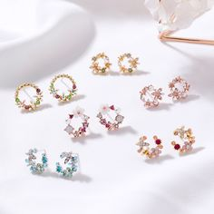 50a83f848 MENGJIQIAO 2018 Korean New Colorful Rhinestone Wreath Stud Earrings For  Women Sweet Flower Shell Small Cirlce