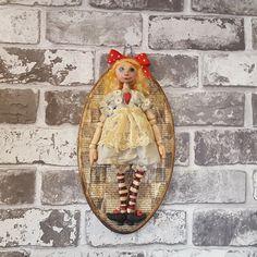 Alice In Wonderland - Alice - Figure - Wonderland - Sculpted Figure - Wall Hanger - Framed Doll - Art Doll - Artistic Doll - OOAK Doll by Rustiikkitupa on Etsy Ooak Dolls, Art Dolls, Painted Paper, Hand Painted, Primitive Painting, Wonderland Alice, Lace Decor, Paper Clay, Wall Hanger