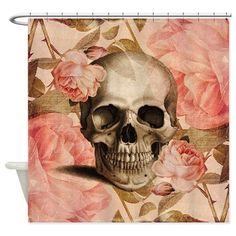 Vintage Rosa Skull Collage Shower Curtain on CafePress.com