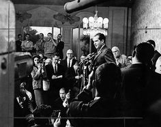 """""""I leave you gentlemen now and you now write it. You will interpret it. That's your right. But as I leave you I want you to know -- just think how much you're going to be missing. You won't have Nixon to kick around any more, because, gentlemen, this is my last press conference and it will be one in which I have welcomed the opportunity to test wits with you."""" -- Richard Nixon at the Beverly Hills Hotel in 1962. (Bizarre Los Angeles)"""
