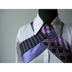 Upcycled Steampunk Harness Repurposed Necktie Vest Industrial Punk... (58 CAD) ❤ liked on Polyvore featuring purple, tops, vests, women's clothing and neck ties