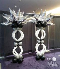 silver white and black striking balloon decor - great for corporate, themed parties and photo backdrops