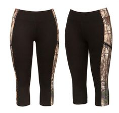 Realtree women's Activewear Black Camo Carpi 2017 - The Canopy legging uses the classic Realtree Xtra print to its best advantage, shaping the body and camouflaging the parts that need it most. Features a silver reflective Realtree logo in back.