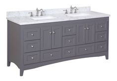 Abbey 72-inch Double Bathroom Vanity (Carrara/Charcoal Gray): Includes Gray Shaker Style Cabinet with Soft Close Drawers, Authentic Italian Carrara Marble Top, and Rectangular Ceramic Sinks