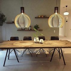 Our Octo pendants in their new beautiful home in Denmark! Loving the reflection they make on the grand wooden table. Dining Table Lighting, Wooden Dining Tables, Küchen Design, House Design, Interior Design Living Room, Interior Decorating, Wooden Lampshade, House Lamp, Piece A Vivre