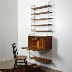Wall Desk, Desk Shelves, Bookcase, Mid Century Modern Living Room, Living Room Grey, Home Office Space, Small Office, Office Furniture, Furniture Design