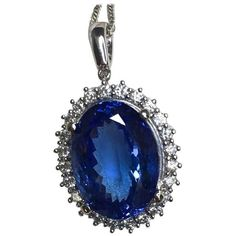 Preowned 11.39 Carat Tanzanite And Diamond Pendant 18 Karat Gold... ($5,022) ❤ liked on Polyvore featuring jewelry, necklaces, multiple, pendant necklaces, chain pendant necklace, tanzanite pendant necklace, chain pendants, diamond cluster necklace and 18k diamond necklace
